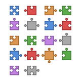 Color Jigsaw Puzzle Blank Constructor. Total Parts Set. Vector Stock Images