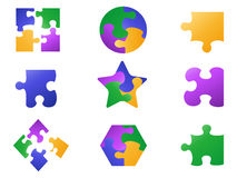 Color jigsaw puzzle icon. Isolated color jigsaw puzzle icon from white background Royalty Free Stock Photos