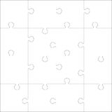 Color Jigsaw puzzle_03_03. White Jigsaw puzzle. Every piece is a single shape. Seamless puzzle texture. Puzzle template. Cutting guidelines. Cut on 16 piece. Eps stock illustration