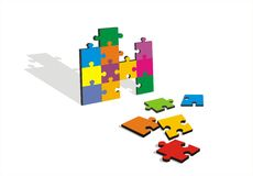 Color Jigsaw on White Background Stock Photos