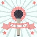 Color Karaoke Musuc Vector Illustration. Color vintage karaoke banner, poster. Vector illustration microphone and ribbon Stock Image