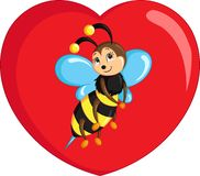 Color kawaii drawing of a little bee on a heart for children`s coloring book or Valentine`s Day card. Adorable save the bees awareness color kawaii illustration stock illustration
