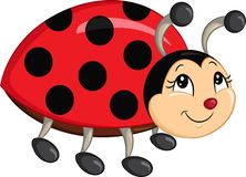 Color kawaii drawing of a little ladybug for children`s book stock illustration