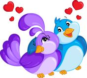 Color kawaii illustration of a bird couple, hugging, with hearts over heads, for children`s book or Valentine`s Day card vector illustration
