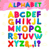 Color kid font. Vector illustration. Isolated on white background. Freehand drawing. Stock Photography