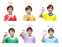 Color kid hand sign language Stock Image