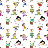 Color Kids Doodles seamless Pattern Stock Photo