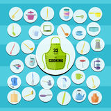 Color kitchenware icons Royalty Free Stock Images
