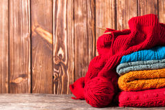 Color knitted clothes Royalty Free Stock Photography