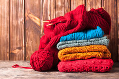 Color knitted clothes Royalty Free Stock Photo