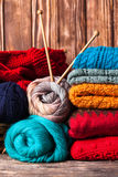 Color knitted clothes Royalty Free Stock Image
