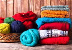 Color knitted clothes Royalty Free Stock Images