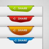Color label bookmark share on the edge of web page. Vector eps 10 Stock Photo