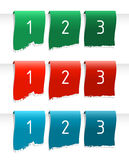 Color labels. Green, red and blue stripes on white Stock Image