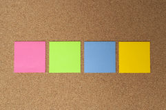 Color labels on bulletin board Royalty Free Stock Photo