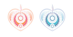 Color labels, on a white background. Hearts Stock Images