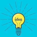 Color Lamp Bulb Idea. Creative idea in light bulb. Blue background. Vector design element Stock Photo