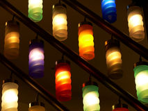 Color lamps. In arcade of shopping center Royalty Free Stock Images
