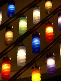 Color lamps. In arcade of shopping center Royalty Free Stock Photography