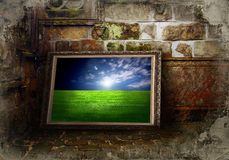 Color landscape on grunge wall. Color landscape on the old grunge wall stock photos