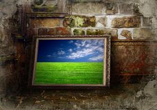 Color landscape on grunge wall Stock Photos