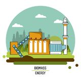 Color landscape image biomass energy plant. Vector illustration Stock Image