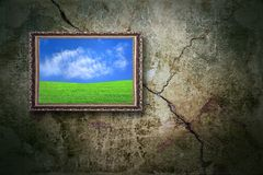 Color landscape on the old wall. Color landscape on the old grunge wall stock photography