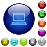 Color laptop glass buttons. Set of color laptop glass web buttons Stock Image
