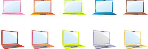 Color laptops. Ten gradient colored laptops or notebooks Stock Photos