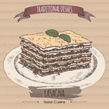 Color lasagna sketch placed on cardboard background. Italian cuisine. Traditional dishes series. Great for market, restaurant, cafe, food label design Stock Image
