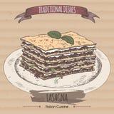 Color lasagna sketch placed on cardboard background. Stock Image