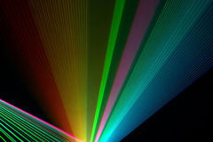 Color laser beams. Fantail in a haze stock image