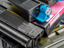 Color laser printer toner cartridges Royalty Free Stock Photos