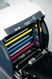 Color laser printer toners cartridges. Close up of color laser printer toners cartridges royalty free stock photography