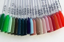 Color layout gel polish samples royalty free stock image