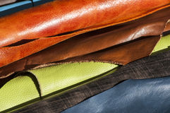 Color leather rolls Stock Photos