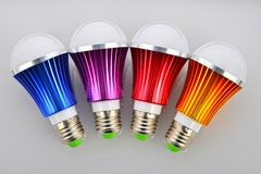 Colorful LED light bulbs,Led lamp Bulb Green light source Green lighting Energy saving light bulbs Environmental protection   Stock Photo