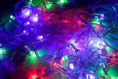 Color led lights and cables Royalty Free Stock Image