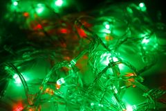 Color led lights and cables Royalty Free Stock Photos