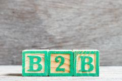 Color letter block in word b2b business to business on wood background royalty free stock images