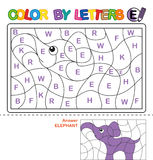 Color by letter. Puzzle for children. Elephant stock illustration