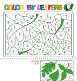 Color by letter. Puzzle for children. Leaf royalty free illustration
