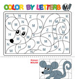 Color by letter.  Puzzle for children. Mouse. ABC Coloring Book for kids. Learn capital letters of the English alphabet Stock Images