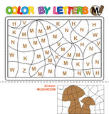 Color by letter.  Puzzle for children. Mushroom Stock Photo
