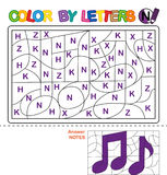 Color by letter. Puzzle for children. Notes royalty free illustration