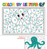 Color by letter.  Puzzle for children. Octopus Royalty Free Stock Image