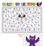 Color by letter.  Puzzle for children. Owl Royalty Free Stock Images