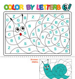 Color by letter.  Puzzle for children. Snail Stock Images
