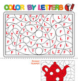 Color by letter.  Puzzle for children. Teapot Stock Photo