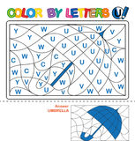 Color by letter.  Puzzle for children. Umbrella Royalty Free Stock Images